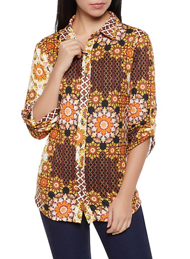 Printed Soft Knit Shirt,MULTI COLOR,large