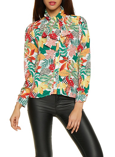 Floral Tie Neck Button Front Shirt,MULTI COLOR,large