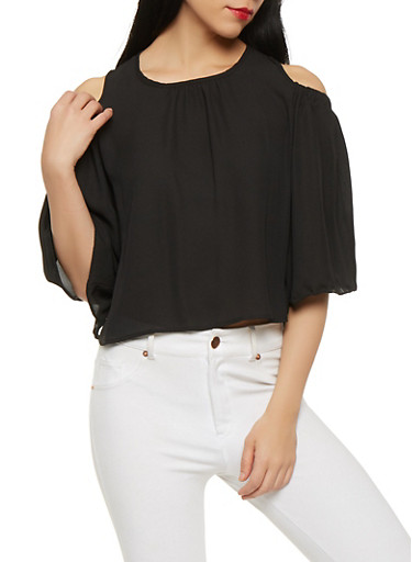 Ruffled Back Cold Shoulder Top,BLACK,large