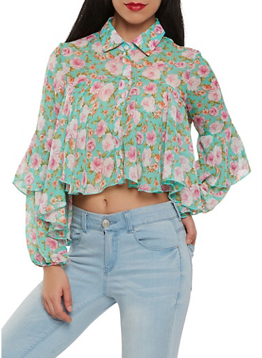Printed Cropped Blouse,MULTI COLOR,large