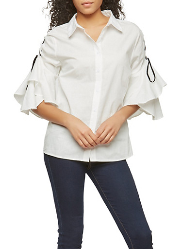 Lace Up Tiered Sleeve Button Front Shirt,WHITE/BLACK,large