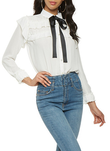 Tie Neck Ruffled Button Front Top,WHITE,large