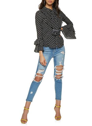 Ruffled Polka Dot Shirt,BLACK/WHITE,large