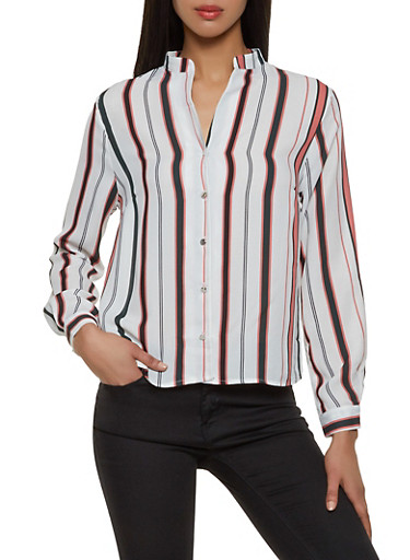 Striped Button Front Blouse,IVORY,large