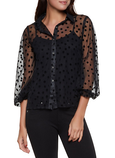 Polka Dot Mesh Shirt,BLACK,large