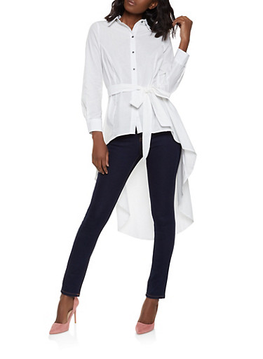 Belted High Low Shirt,WHITE,large