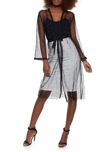 Studded Tie Waist Mesh Duster,BLACK,large