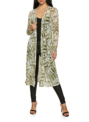Mesh Money Graphic Duster,GREEN,large
