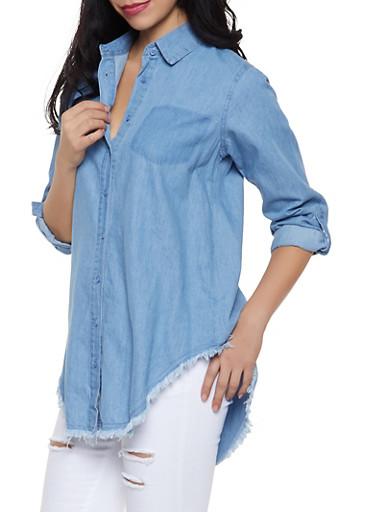 Frayed Hem Denim Shirt,BLUE,large