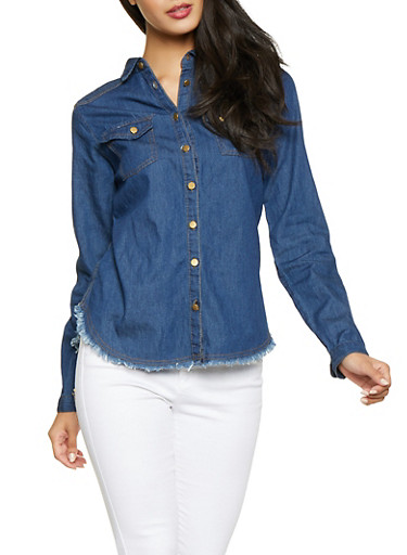 Frayed Denim Button Front Shirt,NAVY,large