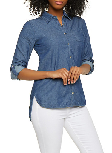 High Low Button Front Denim Shirt,NAVY,large