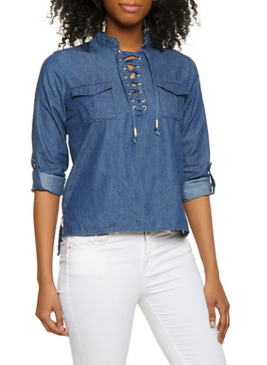 High Low Lace Up Denim Top,NAVY,large