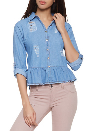Distressed Denim Peplum Shirt,MEDIUM WASH,large