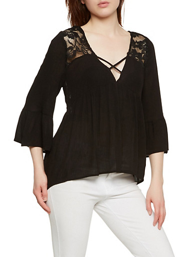 Lace Back Bell Sleeve Top,BLACK,large