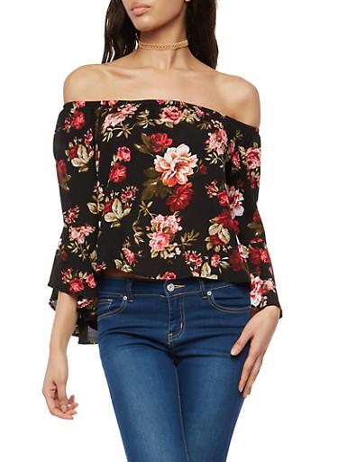 Floral Off the Shoulder Bell Sleeve Top,BLACK,large