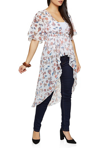 Floral Chiffon 3 Button Duster,WHITE,large