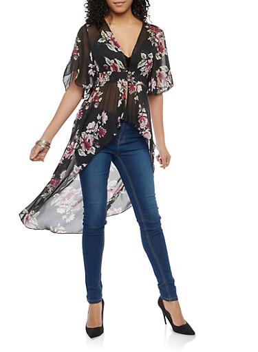 Floral Chiffon High Low Maxi Top,BLACK,large