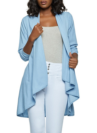 Chambray Drape Front Duster,LIGHT WASH,large