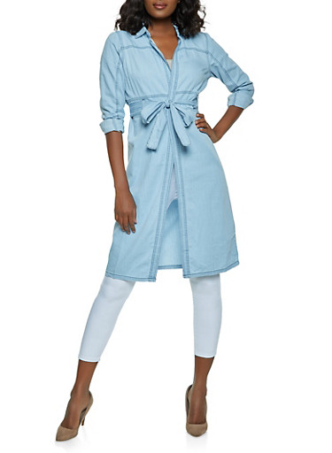 Chambray Tie Waist Duster,LIGHT WASH,large
