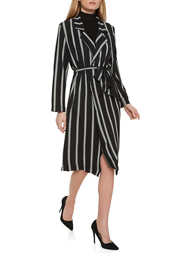 Striped Crepe Knit Duster,BLACK,large