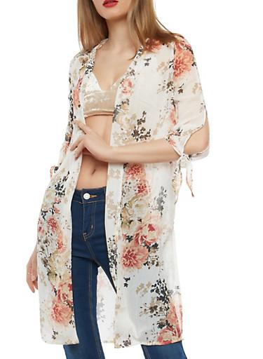 Floral Tie Sleeve Kimono,IVORY FLRL,large