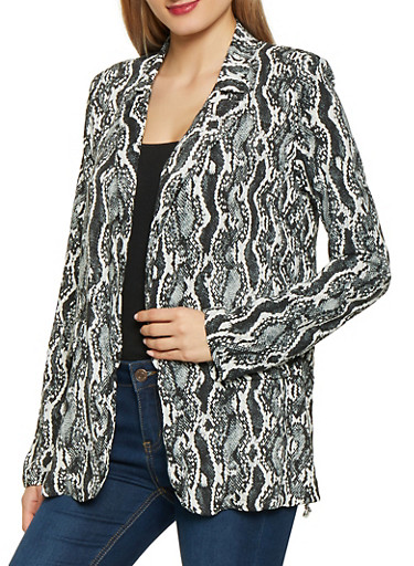 Animal Print Blazer,BLACK/WHITE,large
