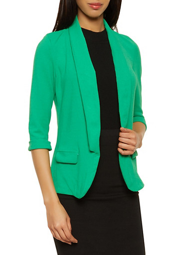 Crepe Knit Collared Blazer,KELLY GREEN,large
