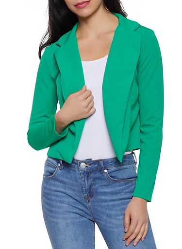Crepe Knit Open Front Blazer | 1008062413796,KELLY GREEN,large