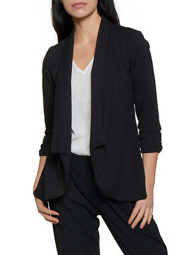 Ruched Sleeve Textured Knit Collared Blazer,BLACK,large