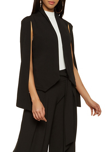Collared Cape Blazer,BLACK,large