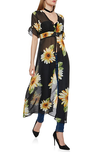Sunflower Cinched Waist Maxi Top,BLACK,large