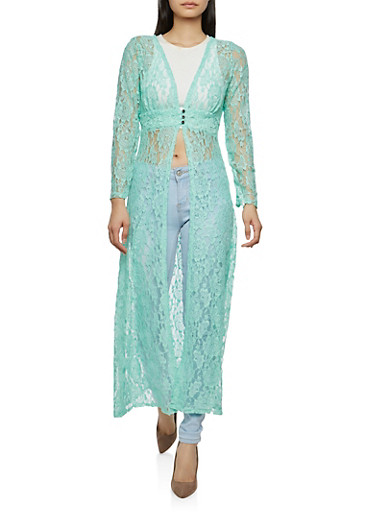 Printed Lace Duster,MINT,large