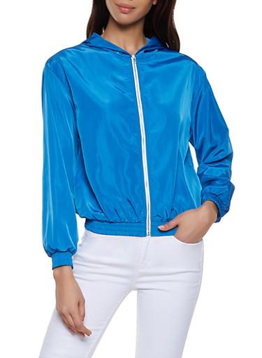 Hooded Zip Front Windbreaker Jacket,BLUE,large
