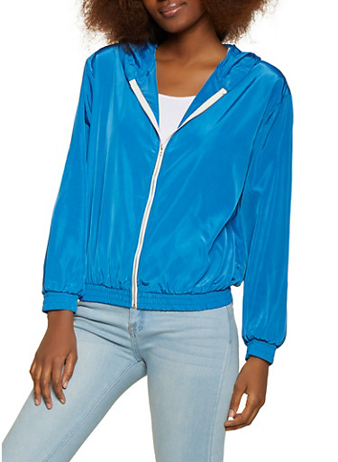 Contrast Zip Windbreaker,BLUE,large