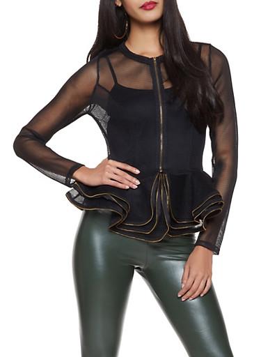 Zip Front Peplum Mesh Jacket,BLACK,large