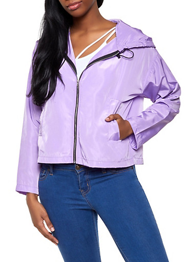 Hooded Zip Front Windbreaker Jacket | 1008074292899,LAVENDER,large