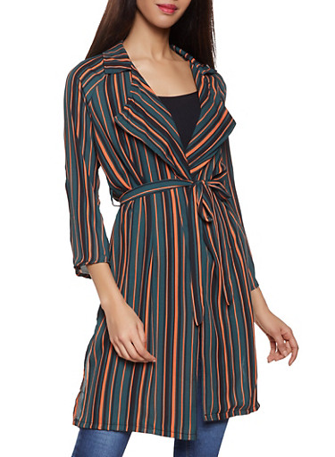 Striped Tie Waist Duster,OLIVE,large