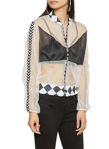 Do Not Disturb Mesh Track Jacket,BLACK/WHITE,large