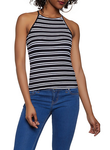 Striped High Neck Tank Top,BLACK/WHITE,large