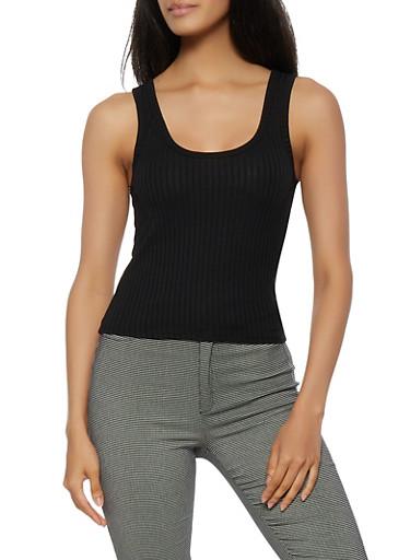 Basic Rib Knit Tank Top,BLACK,large