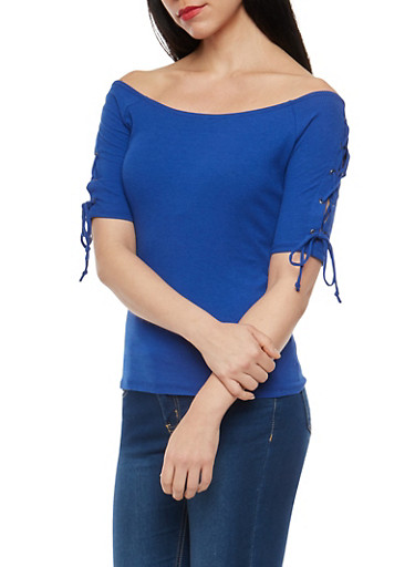 Lace Up Sleeve Ribbed Knit Top,RYL BLUE,large