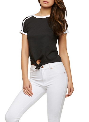 Contrast Trim Tie Front Tee,BLACK,large