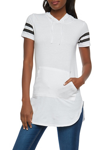 Varsity Stripe Hooded Tunic,WHITE,large