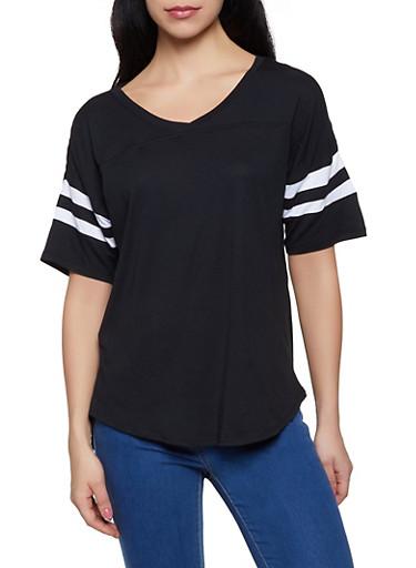 Varsity Stripe V Neck Tee,BLACK,large