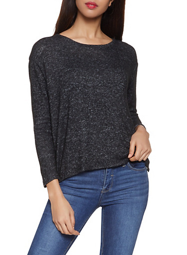 Brushed Knit Sweater,BLACK,large