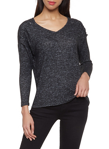 Lace Up Detail Sweater,BLACK,large
