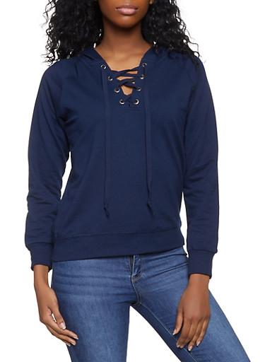 Lace Up Hooded Sweatshirt,NAVY,large