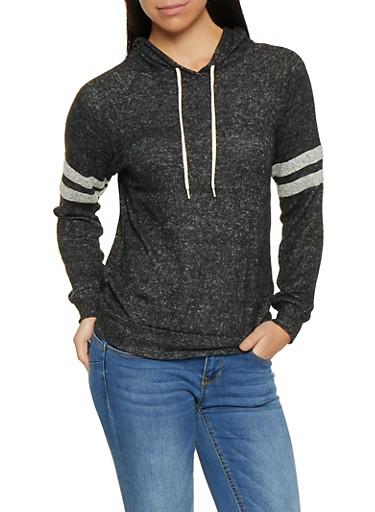 Knit Varsity Stripe Sweatshirt,BLACK,large