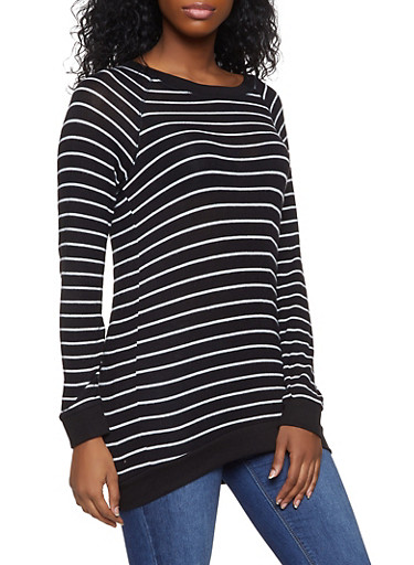 Striped Scoop Neck Sweater,BLACK,large