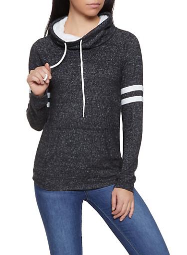 Sherpa Lined Cowl Neck Sweatshirt,BLACK,large